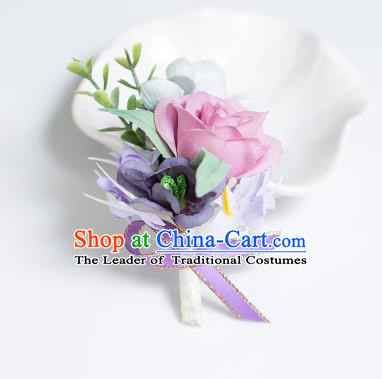 Top Grade Classical Wedding Silk Flowers,Groom Emulational Corsage Groomsman Brooch Flowers for Men