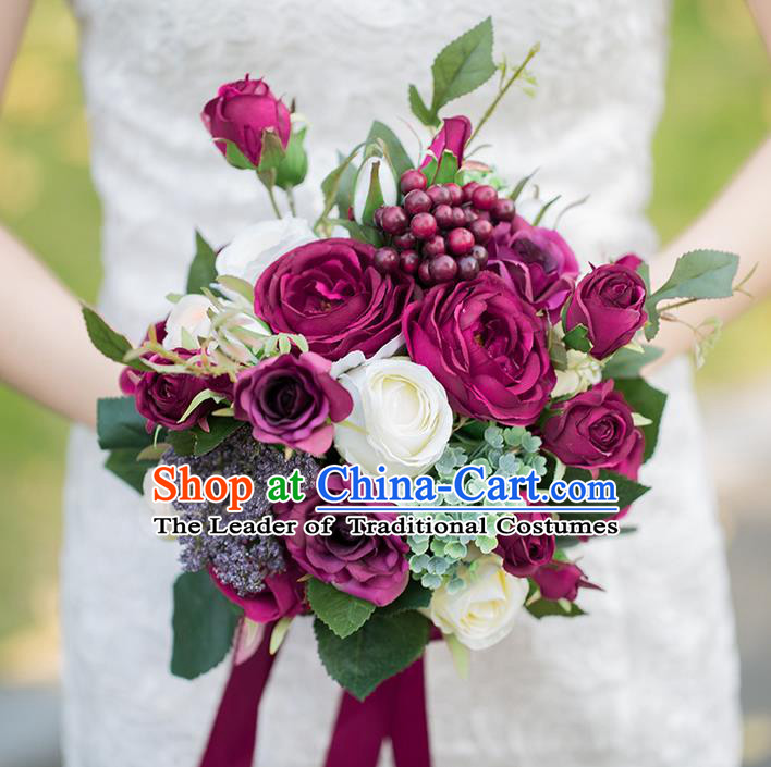 Top Grade Classical Wedding Silk Flowers, Bride Holding Emulational Dark Red Flowers, Hand Tied Bouquet Flowers for Women