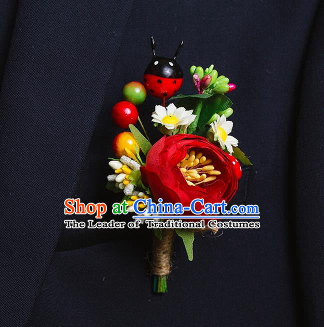 Top Grade Classical Wedding Silk Flowers,Groom Emulational Corsage Groomsman Ladybird Brooch Flowers for Men