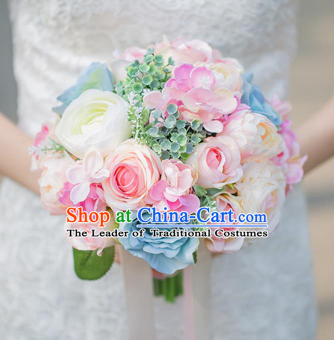 Top Grade Classical Wedding Silk Flowers, Bride Holding Emulational Pink Blue Flowers, Hand Tied Bouquet Flowers for Women