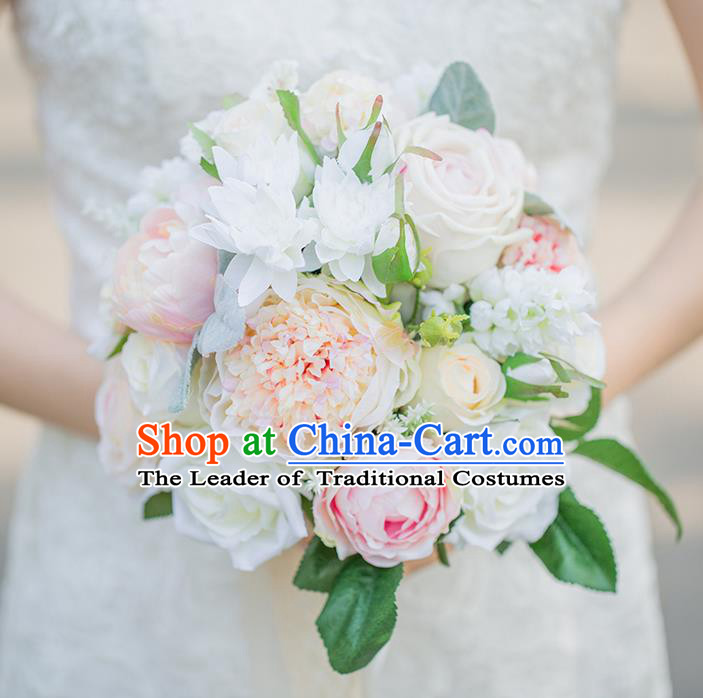 Top Grade Classical Wedding Silk Flowers, Bride Holding Emulational Pink Champagne Flowers, Hand Tied Bouquet Flowers for Women