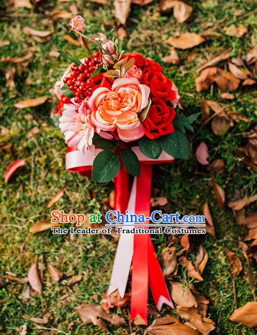 Top Grade Classical Wedding Silk Flowers, Bride Holding Emulational Red Rose Flowers, Hand Tied Bouquet Flowers for Women