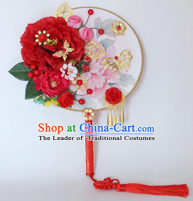 Traditional Handmade Chinese Ancient Classical Wedding Accessories Decoration, Bride Wedding Flowers Round Fan, Hanfu Xiuhe Suit Palace Butterfly Fan for Women