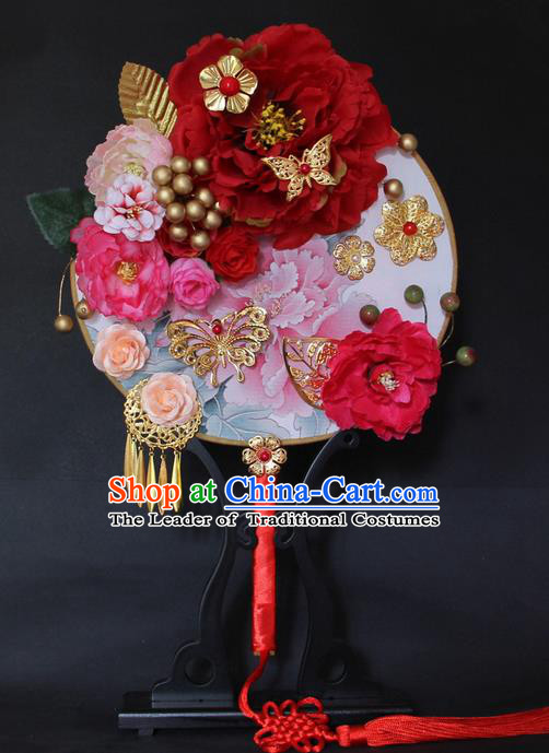 Traditional Handmade Chinese Ancient Classical Wedding Accessories Flowers Decoration, Bride Wedding Flowers Round Fan, Hanfu Xiuhe Suit Palace Butterfly Fan for Women