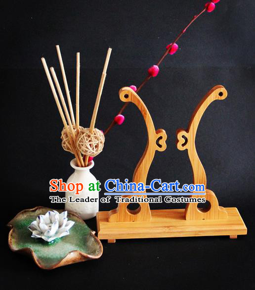 Traditional Handmade Chinese Ancient Classical Wood Wedding Accessories Decoration, Wood Round Fan Burlywood Frame Palace Fan Holder
