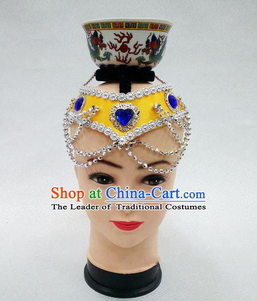 Traditional Chinese Mongol Nationality Dancing Accessories Headdress, Mongolian Folk Dance Ethnic Headwear Top Bowl Dance Yellow Hat for Women