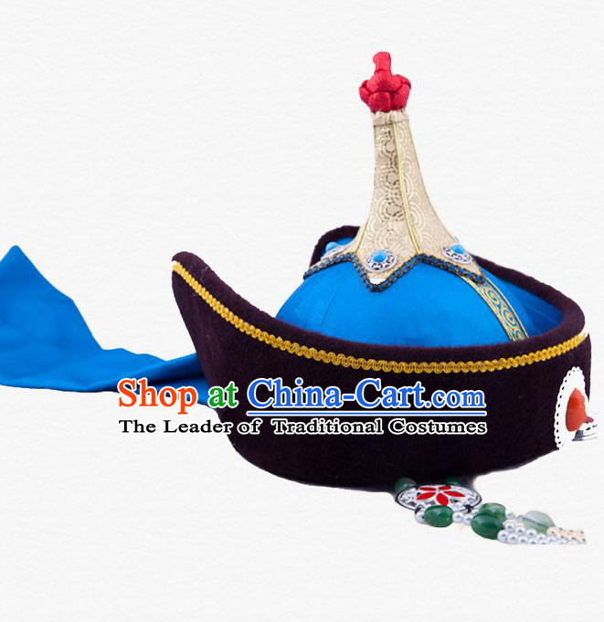 Traditional Chinese Mongol Nationality Dancing Accessories Headdress, Mongolian Folk Dance Ethnic Headwear China Mongolian Minority Palace Princess Wedding Blue Hat for Women