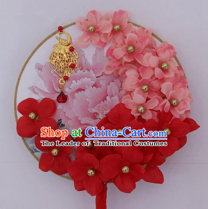 Traditional Handmade Chinese Ancient Classical Wedding Accessories Flowers Decoration, Bride Wedding Flowers Round Fan, Hanfu Xiuhe Suit Palace Pearl Phoenix Fan for Women