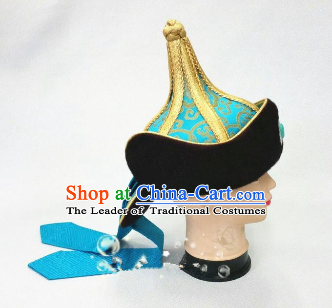 Traditional Chinese Top Grade Mongol Nationality Dancing Accessories Headdress, Mongolian Folk Dance Ethnic Headwear China Mongolian Minority Royal Highness Wedding Blue Hat for Men