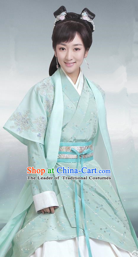 Traditional Ancient Chinese Imperial Princess Costume, Elegant Hanfu Palace Princess Dress Han Dynasty Imperial Young Lady Embroidered Clothing for Women