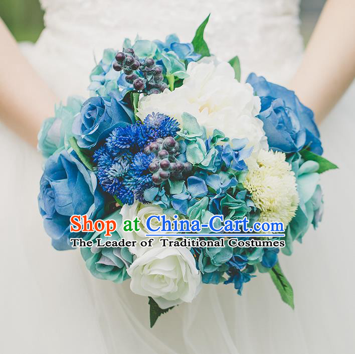 Top Grade Classical Wedding Silk Flowers, Bride Holding Emulational Flowers, Hand Tied Bouquet Blue Flowers for Women