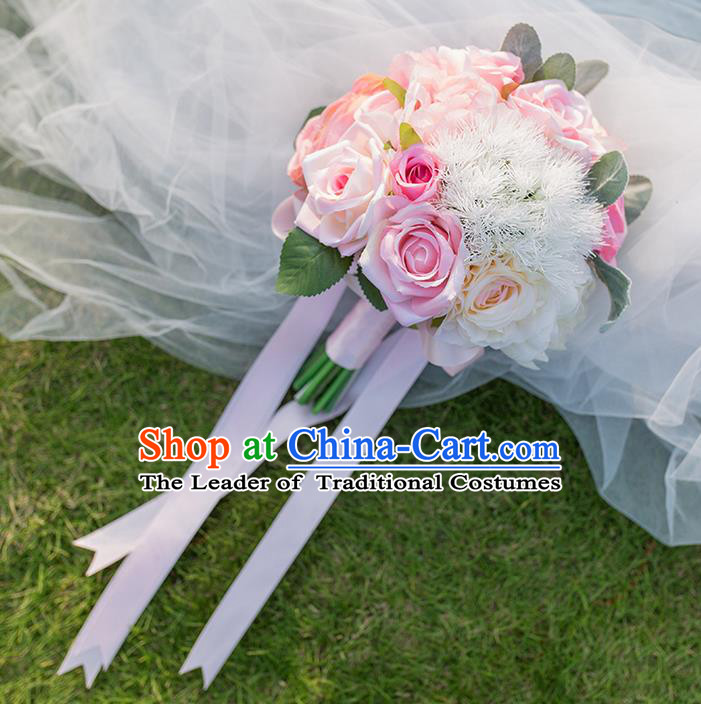 Top Grade Classical Wedding Silk Flowers, Bride Holding Emulational Flowers, Hand Tied Bouquet Pink Flowers for Women