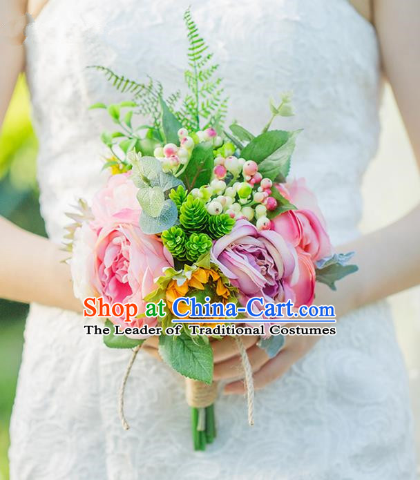 Top Grade Classical Wedding Silk Flowers Ball, Bride Holding Emulational Flowers, Hand Tied Bouquet Pink Flowers for Women
