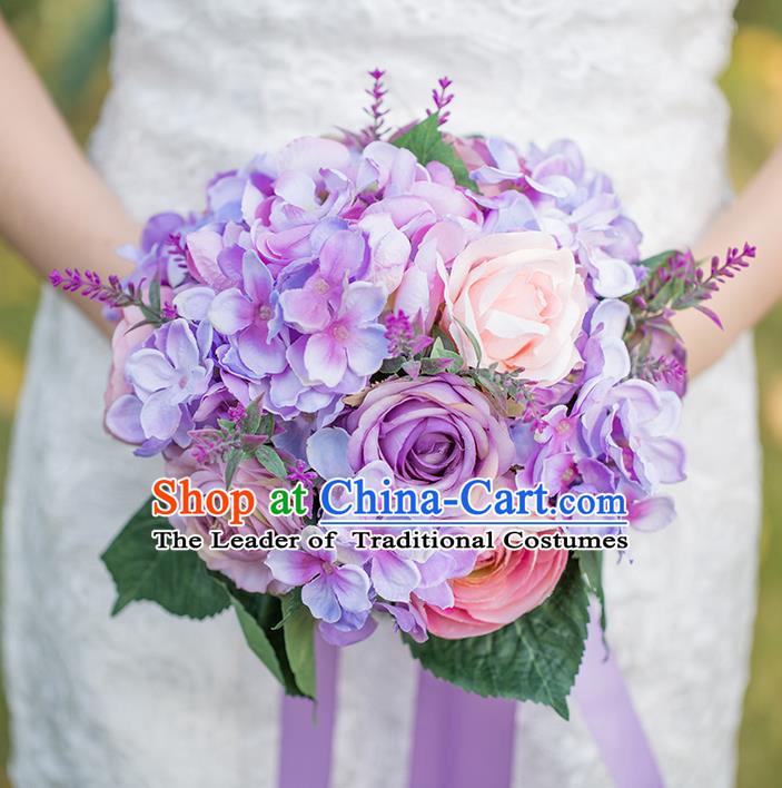 Top Grade Classical Wedding Silk Flowers Ball, Bride Holding Emulational Flowers, Hand Tied Bouquet Lavender Flowers for Women