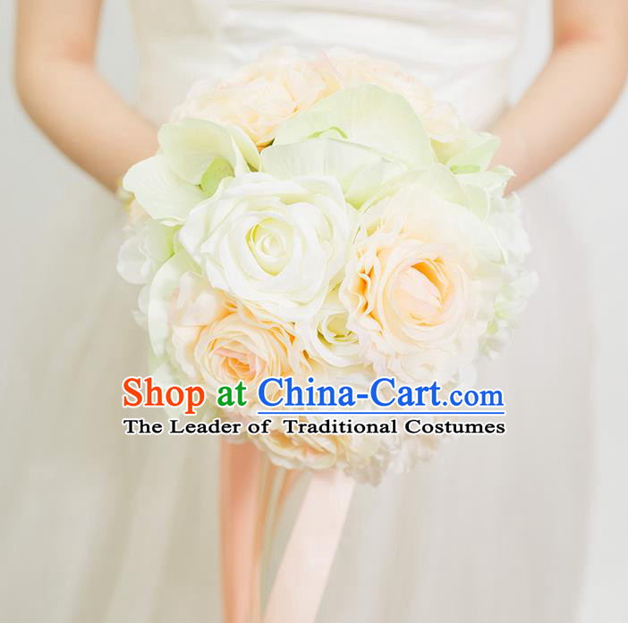 Top Grade Classical Wedding Silk Flowers Champagne Flowers Ball, Bride Holding Emulational Flowers, Hand Tied Bouquet Flowers for Women