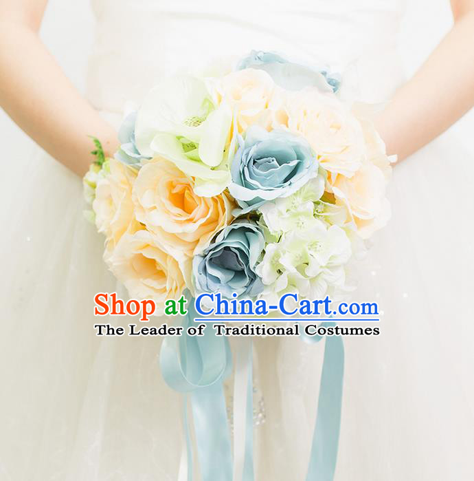 Top Grade Classical Wedding Silk Flowers Blue Flowers Ball, Bride Holding Emulational Flowers, Hand Tied Bouquet Flowers for Women