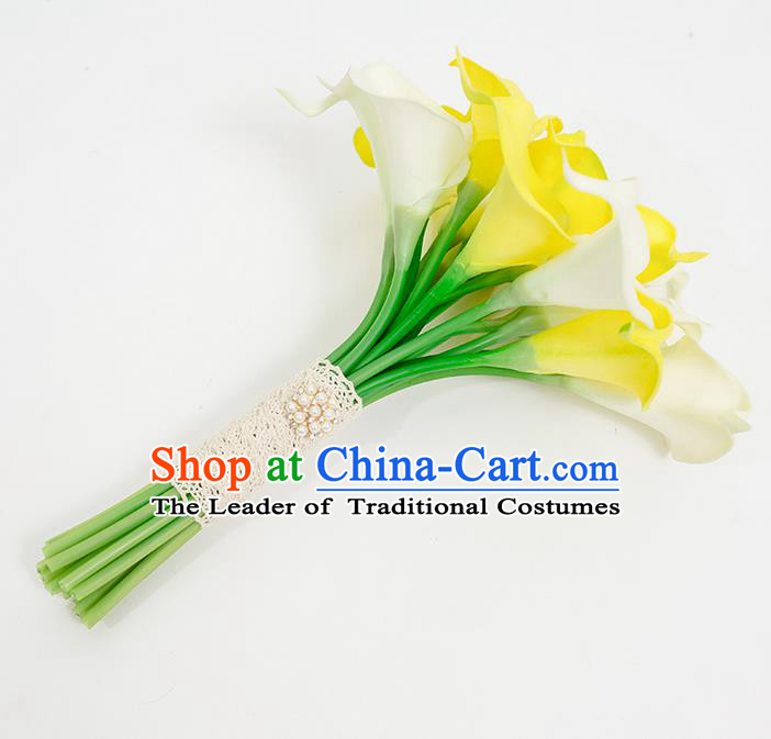 Top Grade Classical Wedding Silk Flowers Common Callalily Flowers Ball, Bride Holding Emulational Flowers, Hand Tied Bouquet Flowers for Women