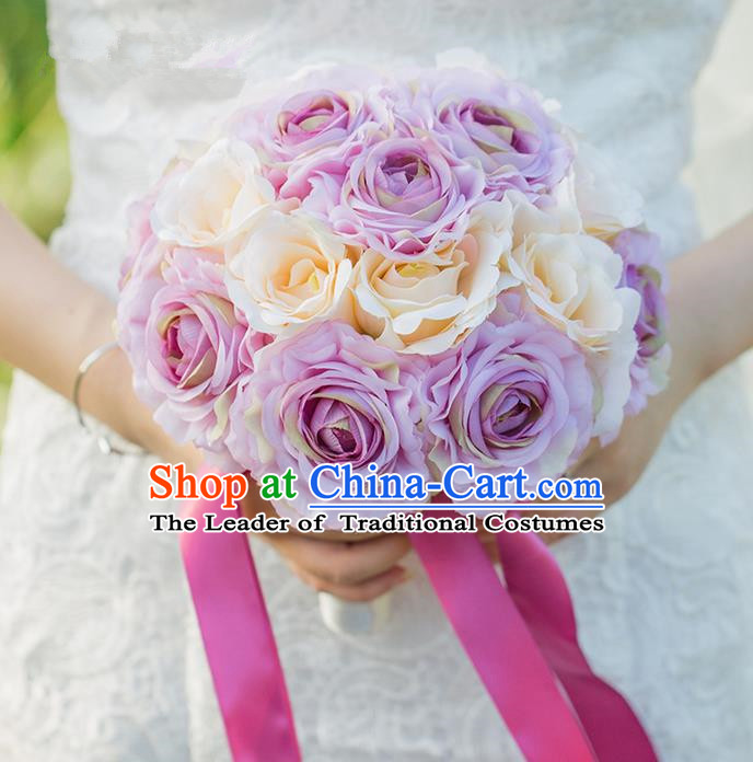 Top Grade Classical Wedding Silk Flowers Purple Flowers Ball, Bride Holding Emulational Flowers, Hand Tied Bouquet Flowers for Women