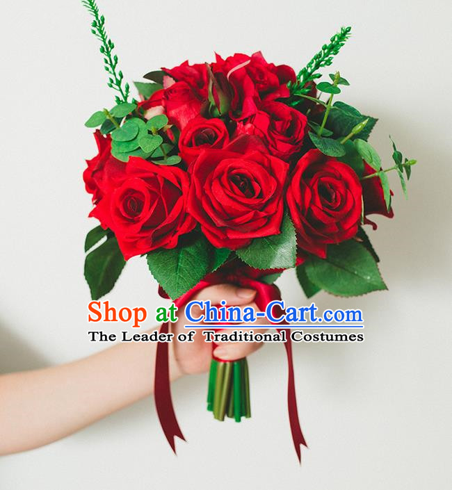 Top Grade Classical Wedding Silk Flowers Red Rose Flowers Ball, Bride Holding Emulational Flowers, Hand Tied Bouquet Flowers for Women