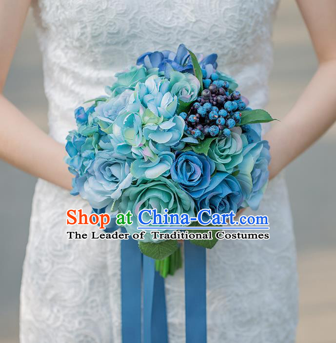 Top Grade Classical Wedding Silk Flowers Powderblue Flowers Ball, Bride Holding Emulational Flowers, Hand Tied Bouquet Flowers for Women