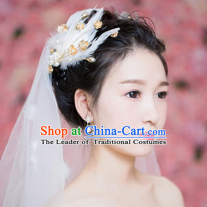 Handmade Chinese Classical Hair Accessories Wedding Hair Sticks Hair Jewellery, Bride Royal Crown Pearl Feather Hair Claw for Women