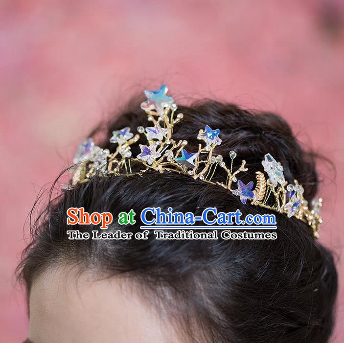 Handmade Chinese Classical Hair Accessories Wedding Hair Sticks Hair Jewellery, Bride Royal Crown Star Hair Clasp for Women