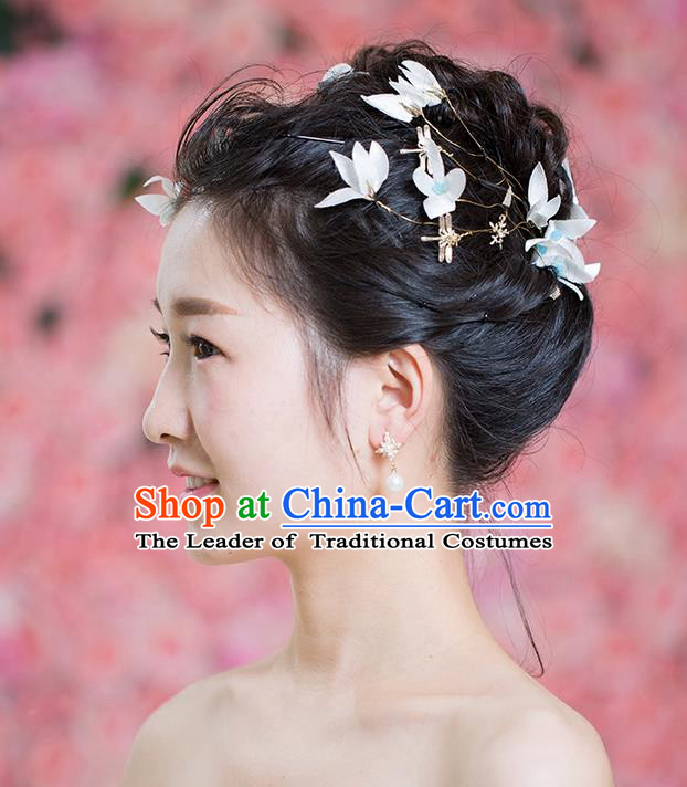 Handmade Chinese Classical Hair Accessories Wedding Hair Sticks Hair Jewellery, Bride Royal Crown Flowers Hair Clasp for Women