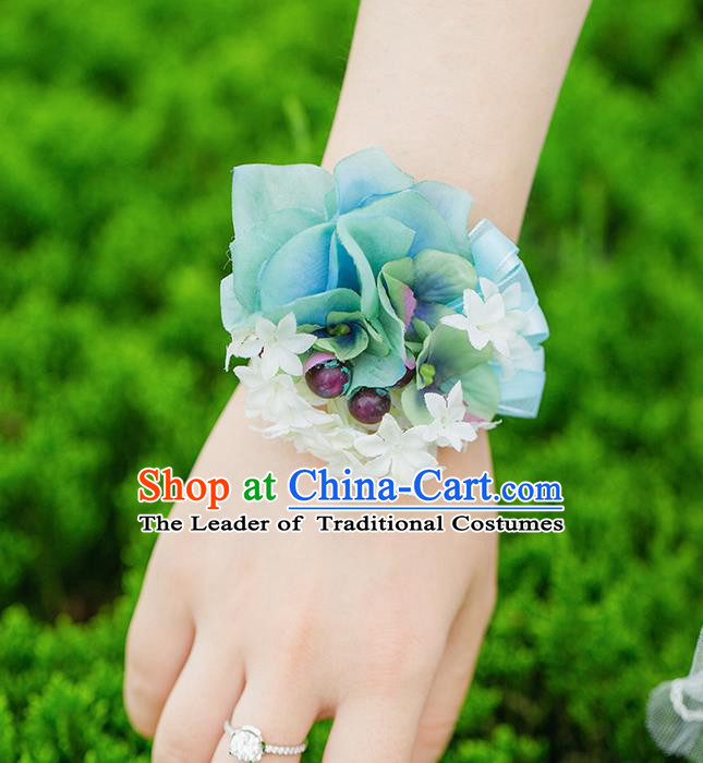 Top Grade Classical Wedding Silk Flowers, Bride Emulational Wrist Flowers Bridesmaid Bracelet Blue Flowers for Women