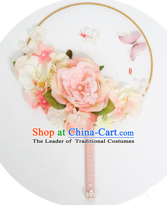 Traditional Handmade Chinese Ancient Classical Wedding Accessories Decoration, Bride Wedding Flowers Round Fan, Hanfu Xiuhe Suit Palace Flowers Fan for Women