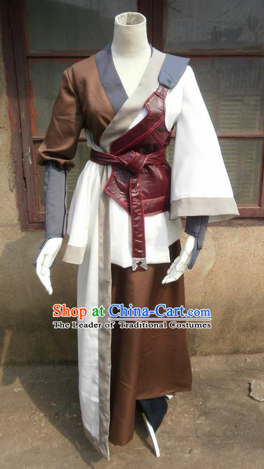 Traditional Ancient Chinese Classical Cartoon Character Uniform Cosplay Game Role Han Dynasty Swordmen Costume Complete Set for Men