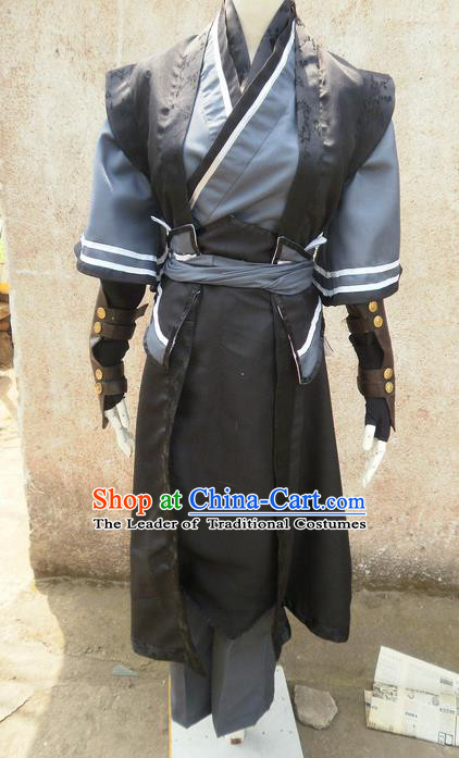 Traditional Ancient Chinese Classical Cartoon Character Nobility Childe Uniform Cosplay Game Role Han Dynasty Prince Swordmen Costume Complete Set for Men