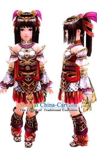 Traditional Ancient Chinese Classical Cartoon Character Little Fairy Uniform Cosplay Game Role Han Dynasty Children Swordmen Princess Costume Complete Set for Women