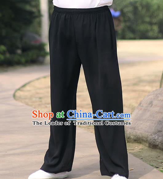 Traditional Chinese Top Linen Kung Fu Costume Martial Arts Kung Fu Training Black Pants, Tang Suit Gongfu Shaolin Wushu Clothing Tai Chi Taiji Teacher Trousers for Men