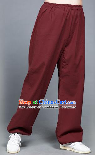 Traditional Chinese Top Flax Kung Fu Costume Martial Arts Kung Fu Training Wine Red Pants, Tang Suit Gongfu Shaolin Wushu Clothing Tai Chi Taiji Teacher Trousers for Men