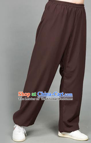 Traditional Chinese Top Flax Kung Fu Costume Martial Arts Kung Fu Training Brown Pants, Tang Suit Gongfu Shaolin Wushu Clothing Tai Chi Taiji Teacher Trousers for Men