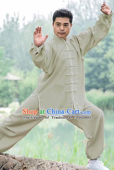 Traditional Chinese Top Linen Kung Fu Costume Martial Arts Kung Fu Training Light Grey Uniform, Tang Suit Gongfu Shaolin Wushu Clothing, Tai Chi Taiji Teacher Suits Uniforms for Men