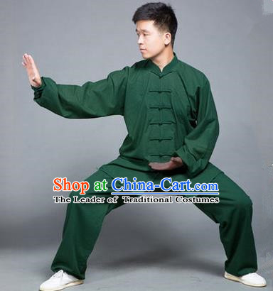 Traditional Chinese Top Flax Kung Fu Costume Martial Arts Kung Fu Training Green Uniform, Tang Suit Gongfu Shaolin Wushu Clothing, Tai Chi Taiji Teacher Suits Uniforms for Men