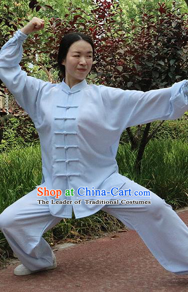 Traditional Chinese Top Linen Kung Fu Costume Martial Arts Kung Fu Training Blue Uniform, Tang Suit Gongfu Shaolin Wushu Clothing, Tai Chi Taiji Teacher Suits Uniforms for Women