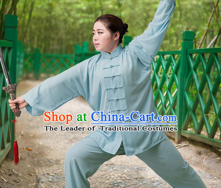 Traditional Chinese Top Silk Cotton Kung Fu Costume Martial Arts Kung Fu Training Long Sleeve Blue Uniform, Tang Suit Gongfu Shaolin Wushu Clothing, Tai Chi Taiji Teacher Suits Uniforms for Women