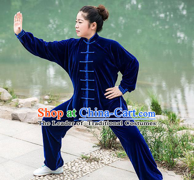 Traditional Chinese Top Pleuche Kung Fu Costume Martial Arts Kung Fu Training Royalblue Plated Buttons Uniform, Tang Suit Gongfu Shaolin Wushu Clothing, Tai Chi Taiji Teacher Suits Uniforms for Women
