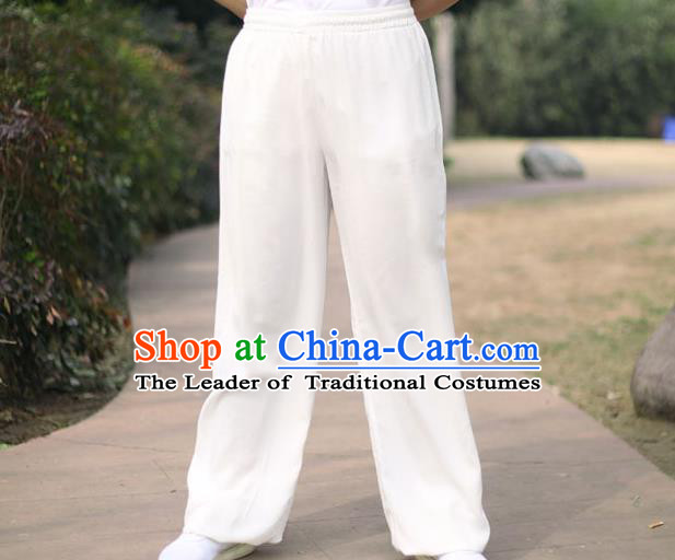 Traditional Chinese Top Linen Kung Fu Costume Martial Arts Kung Fu Training White Pants, Tang Suit Gongfu Shaolin Wushu Clothing Tai Chi Taiji Teacher Trousers for Men