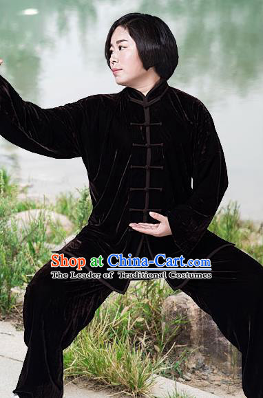 Traditional Chinese Top Pleuche Kung Fu Costume Martial Arts Kung Fu Training Brown Plated Buttons Uniform, Tang Suit Gongfu Shaolin Wushu Clothing, Tai Chi Taiji Teacher Suits Uniforms for Women