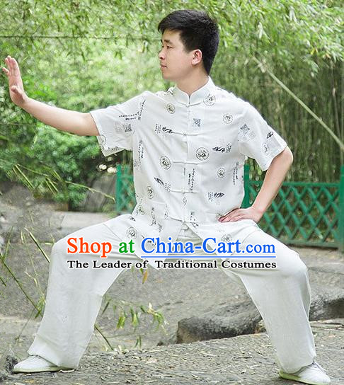 Traditional Chinese Top Linen Kung Fu Costume Martial Arts Kung Fu Training Short Sleeve Plated Buttons White Printing Fortune Uniform, Tang Suit Gongfu Shaolin Wushu Clothing, Tai Chi Taiji Teacher Suits Uniforms for Men
