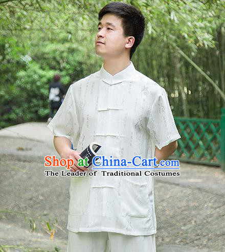 Traditional Chinese Top Linen Kung Fu Costume Martial Arts Kung Fu Training Short Sleeve Plated Buttons White Printing Uniform, Tang Suit Gongfu Shaolin Wushu Clothing, Tai Chi Taiji Teacher Suits Uniforms for Men