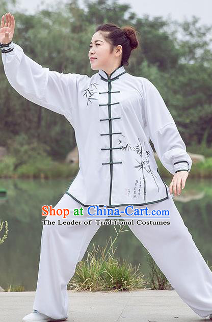 Traditional Chinese Top Linen Kung Fu Costume Martial Arts Kung Fu Training Plated Buttons White Printing Bamboo Uniform, Tang Suit Gongfu Shaolin Wushu Clothing, Tai Chi Taiji Teacher Suits Uniforms for Women