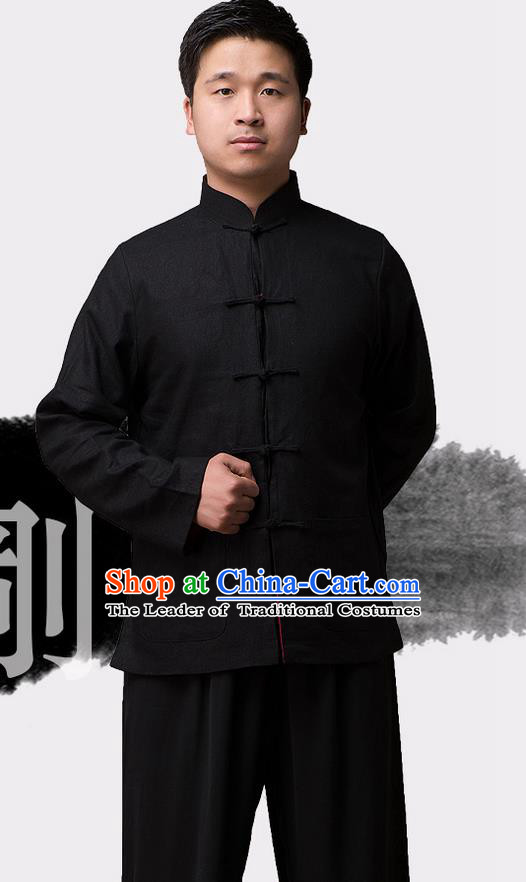 Traditional Chinese Top Linen Kung Fu Costume Martial Arts Kung Fu Training Plated Buttons Black Blouse, Tang Suit Gongfu Shaolin Wushu Clothing, Tai Chi Taiji Teacher Coat for Men