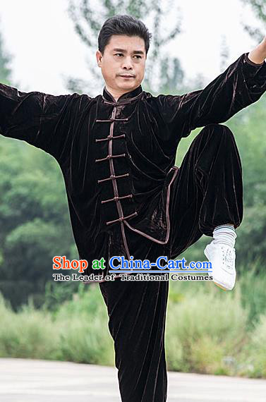 Traditional Chinese Top Pleuche Kung Fu Costume Martial Arts Kung Fu Training Brown Plated Buttons Uniform, Tang Suit Gongfu Shaolin Wushu Clothing, Tai Chi Taiji Teacher Suits Uniforms for Men