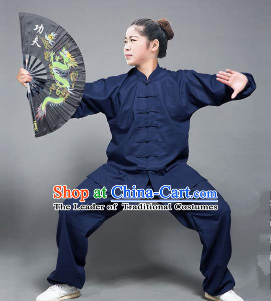 Traditional Chinese Top Flax Kung Fu Costume Martial Arts Kung Fu Training Navy Uniform, Tang Suit Gongfu Shaolin Wushu Clothing, Tai Chi Taiji Teacher Suits Uniforms for Women