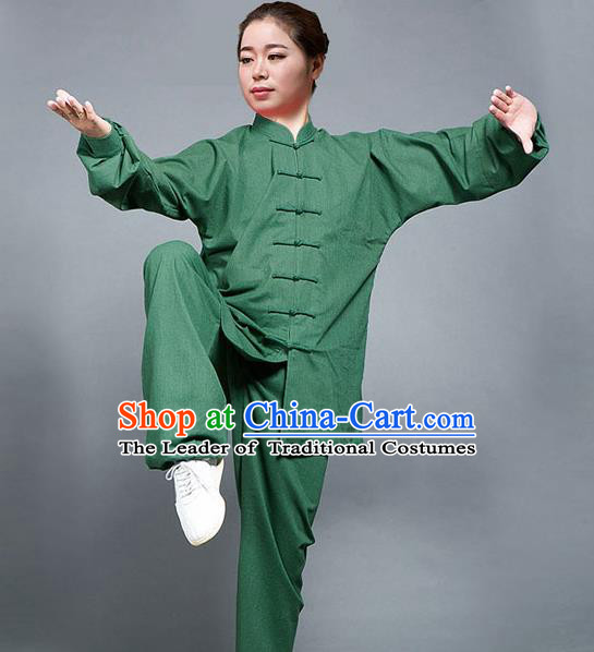 Traditional Chinese Top Flax Kung Fu Costume Martial Arts Kung Fu Training Green Uniform, Tang Suit Gongfu Shaolin Wushu Clothing, Tai Chi Taiji Teacher Suits Uniforms for Women