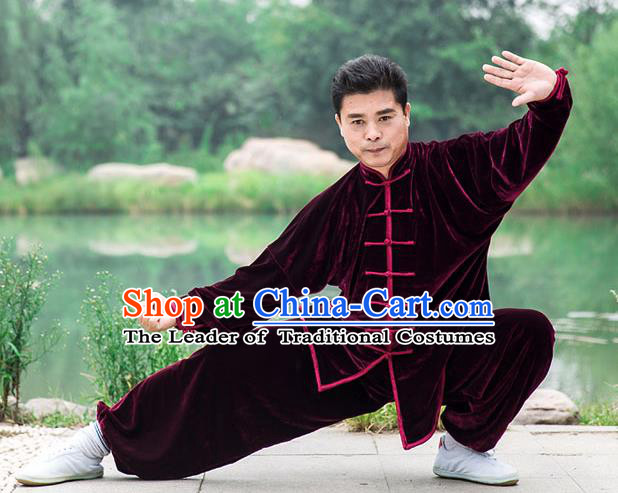 Traditional Chinese Top Pleuche Kung Fu Costume Martial Arts Kung Fu Training Wine Red Plated Buttons Uniform, Tang Suit Gongfu Shaolin Wushu Clothing, Tai Chi Taiji Teacher Suits Uniforms for Men